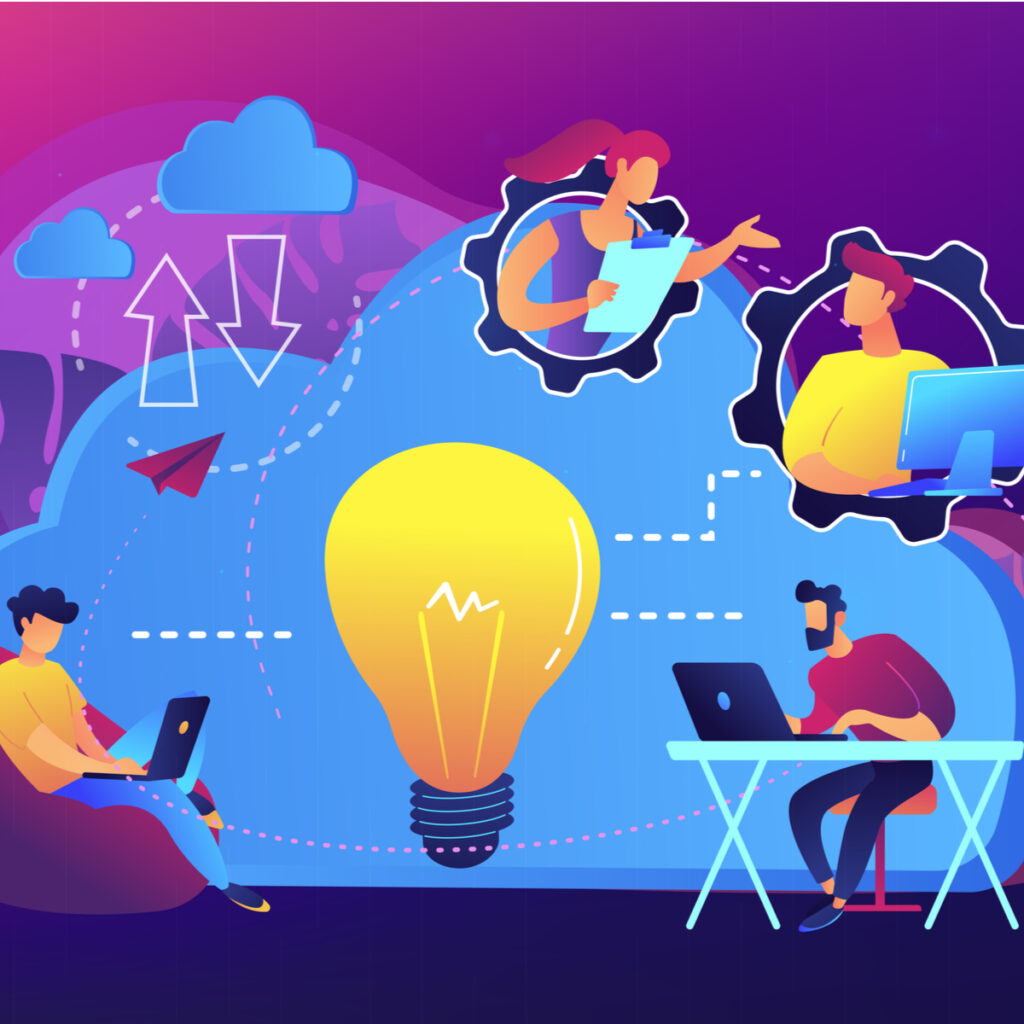Hybrid Work Model: This illustration depicts four people working remotely with a large lightbulb in the centre.